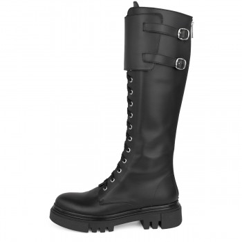 BLACK COMBAT BOOTS WITH BUCKLES AND FLAT HEEL