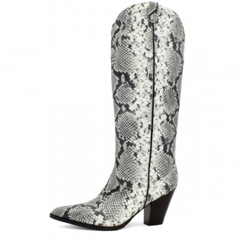 "BLACK AND WHITE PYTHON BOOT ""COWBOY"""