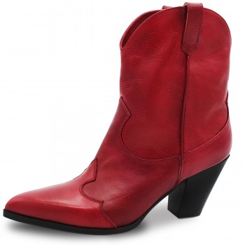 RED COWBOY-STYLE ANKLE BOOTS