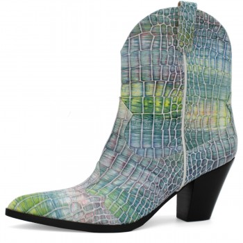MULTICOLOR CROCO COWBOY-STYLE ANKLE BOOTS