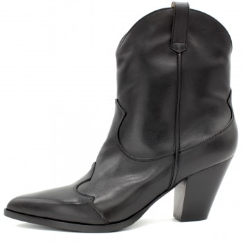 BLACK CALF COWBOY-STYLE ANKLE BOOTS