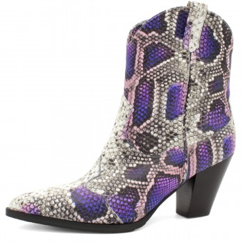 PURPLE PYTHON COWBOY-STYLE ANKLE BOOTS