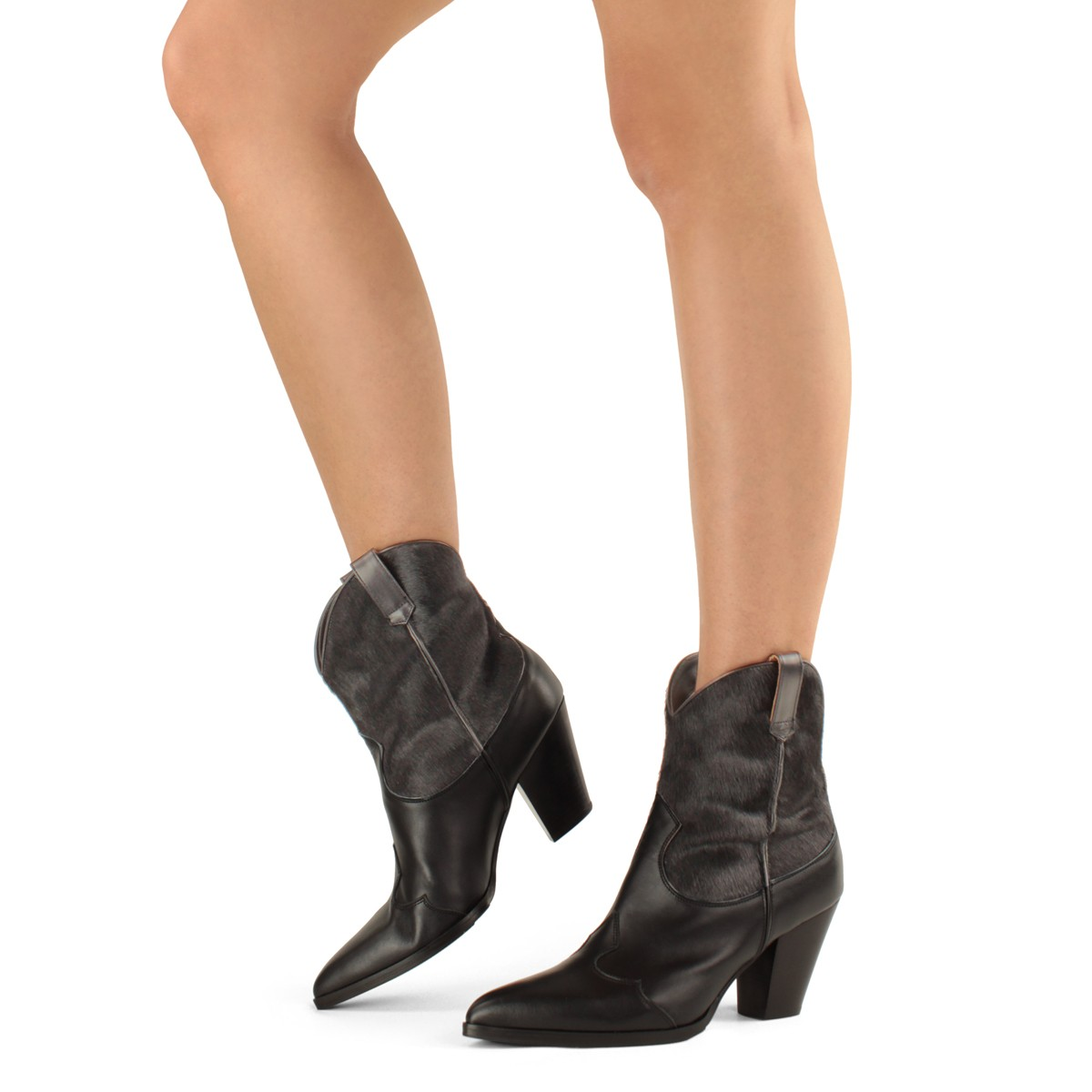 BLACK CALF HAIR COWBOY-STYLE ANKLE BOOTS