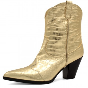 GOLDEN CROCO COWBOY-STYLE ANKLE BOOTS