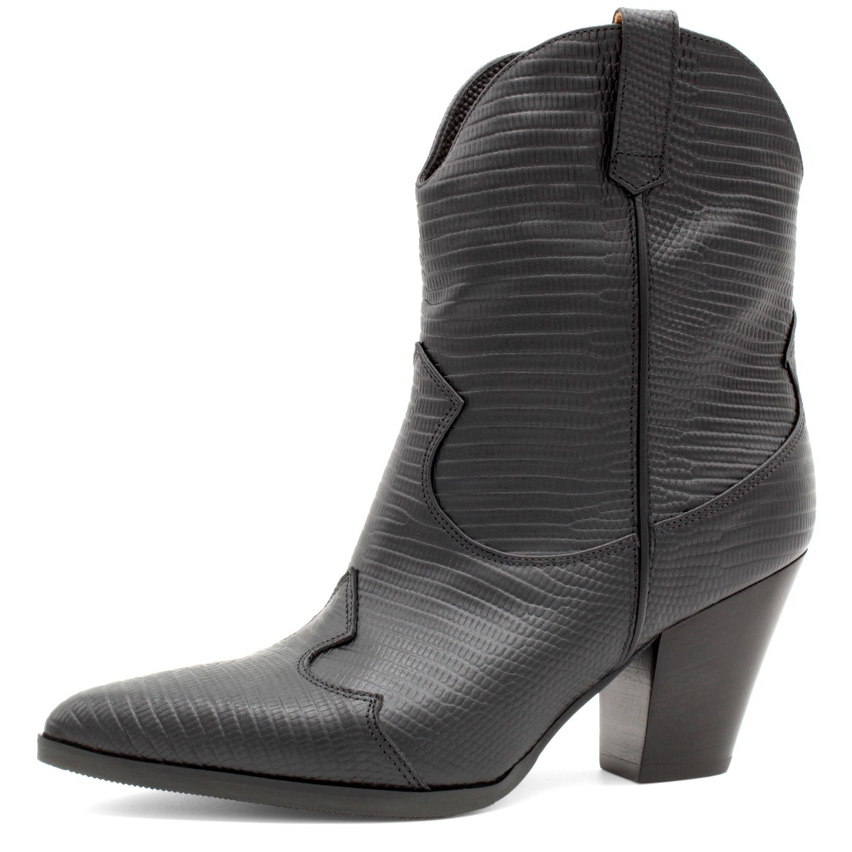BLACK TEJUS COWBOY-STYLE ANKLE BOOTS
