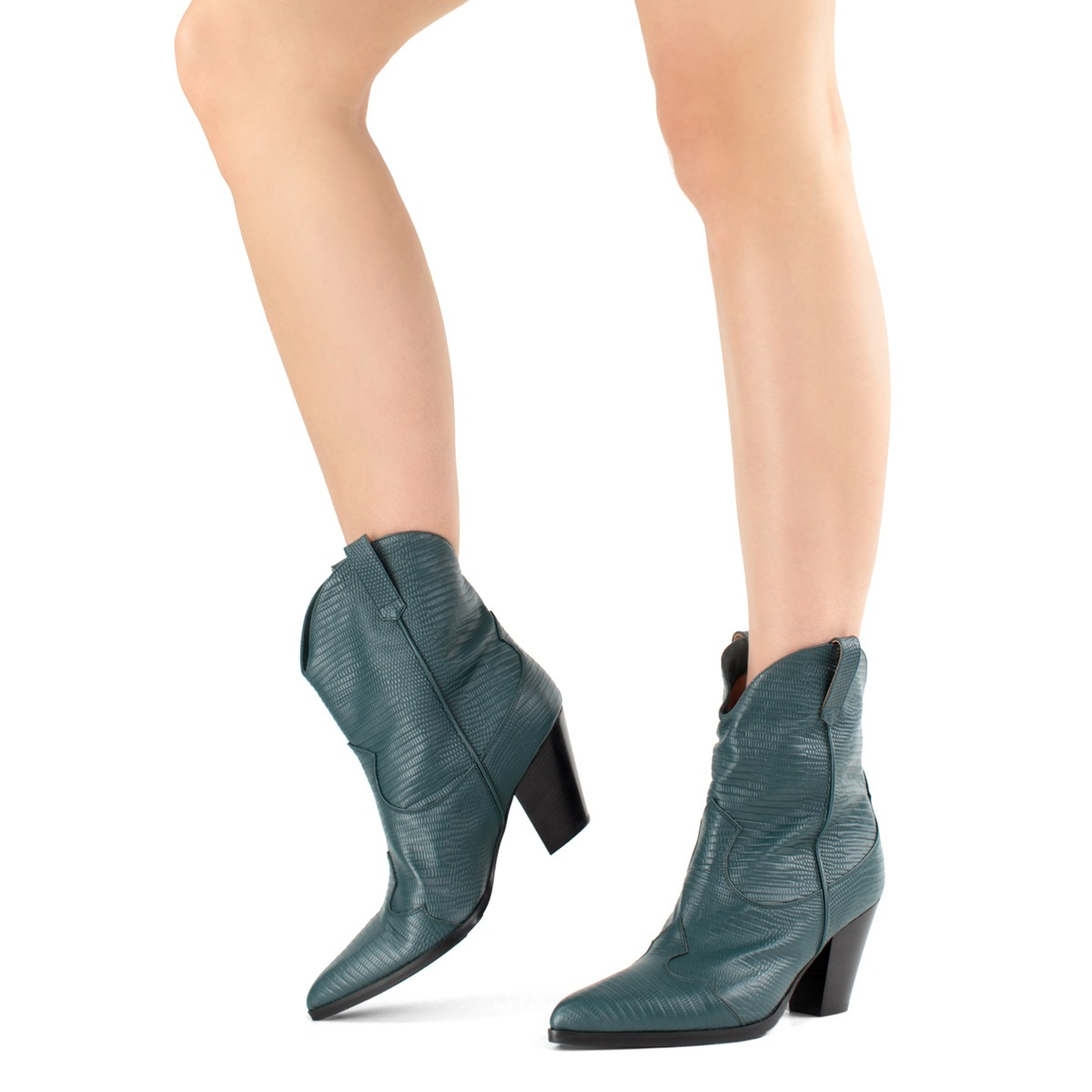 GREEN TEJUS COWBOY-STYLE ANKLE BOOTS