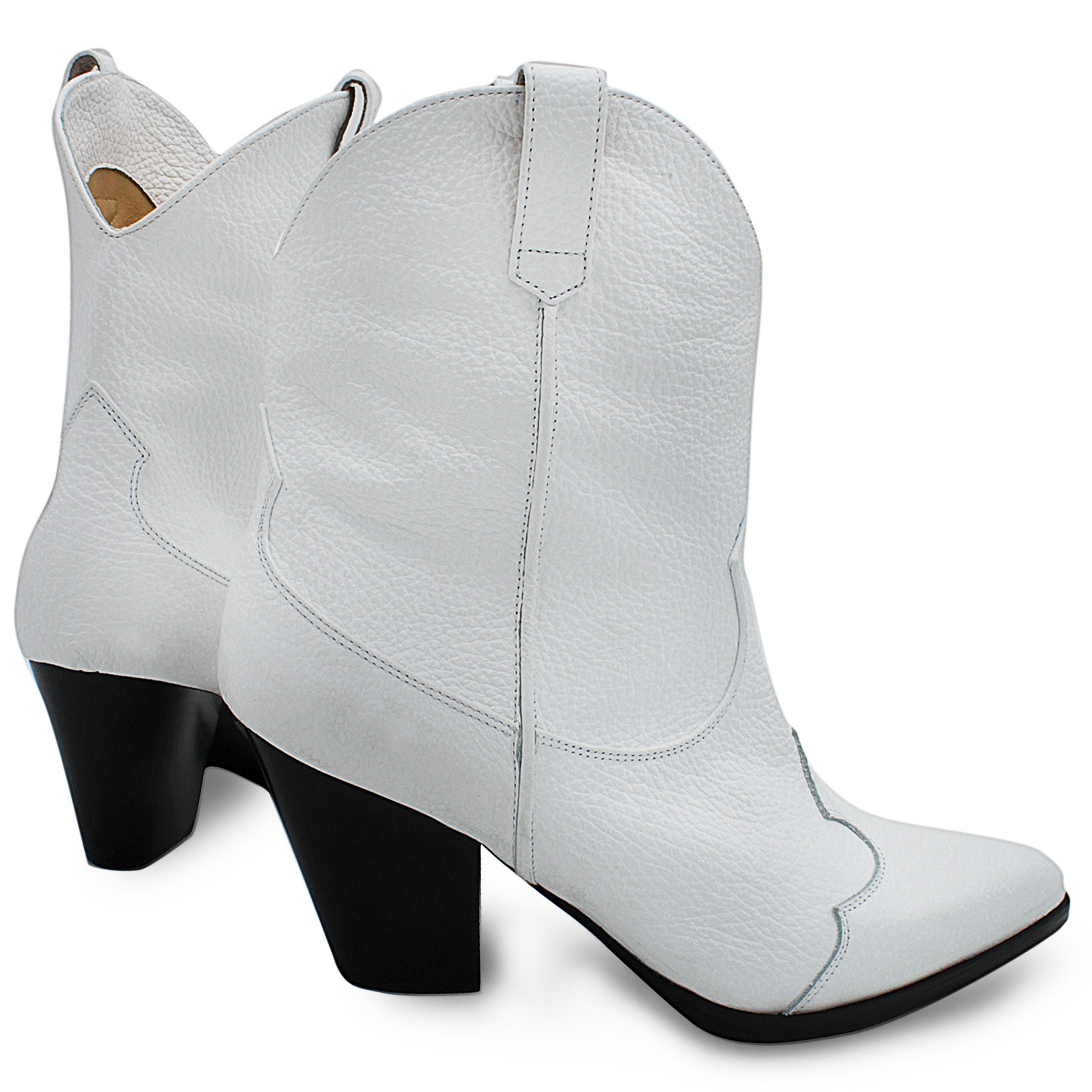 WHITE COWBOY-STYLE ANKLE BOOTS