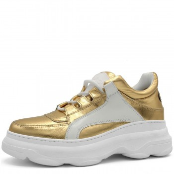 "GOLD AND WHITE SNEAKERS ""BALI"""