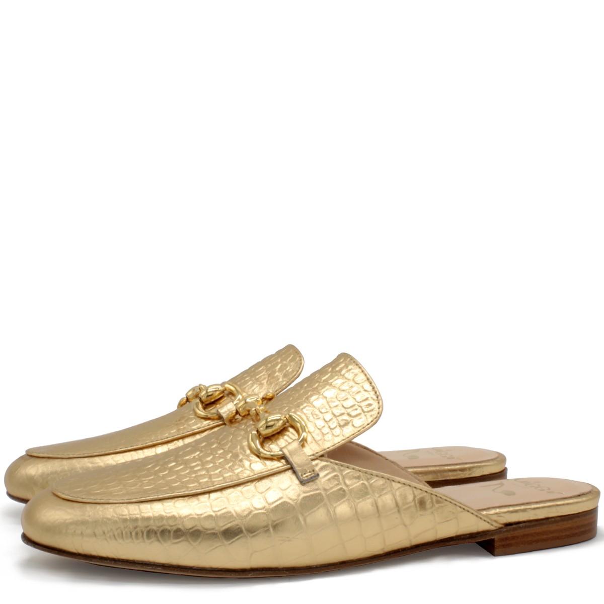 GOLD FLAT MULES