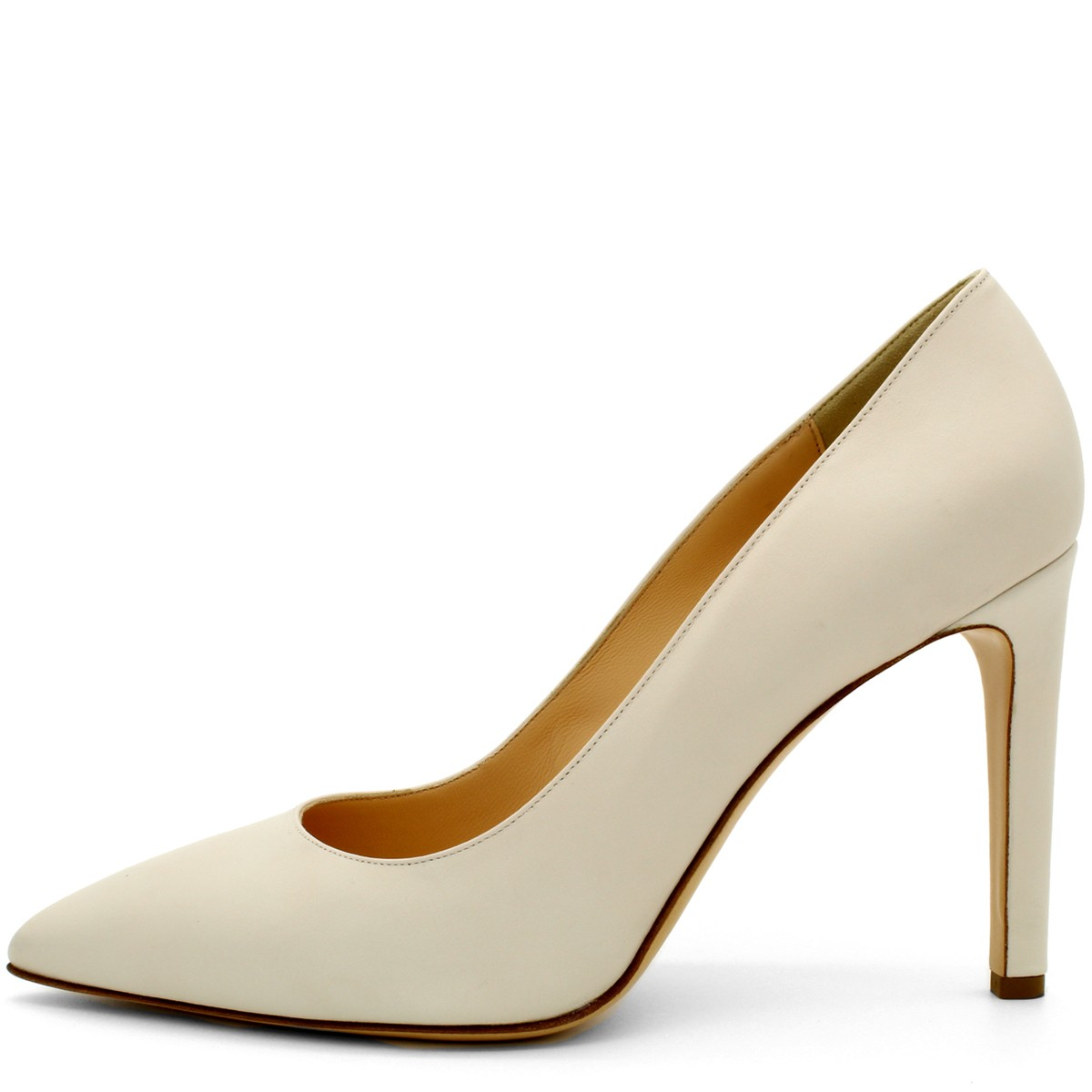 BEIGE POINTED-TOE 100 PUMPS