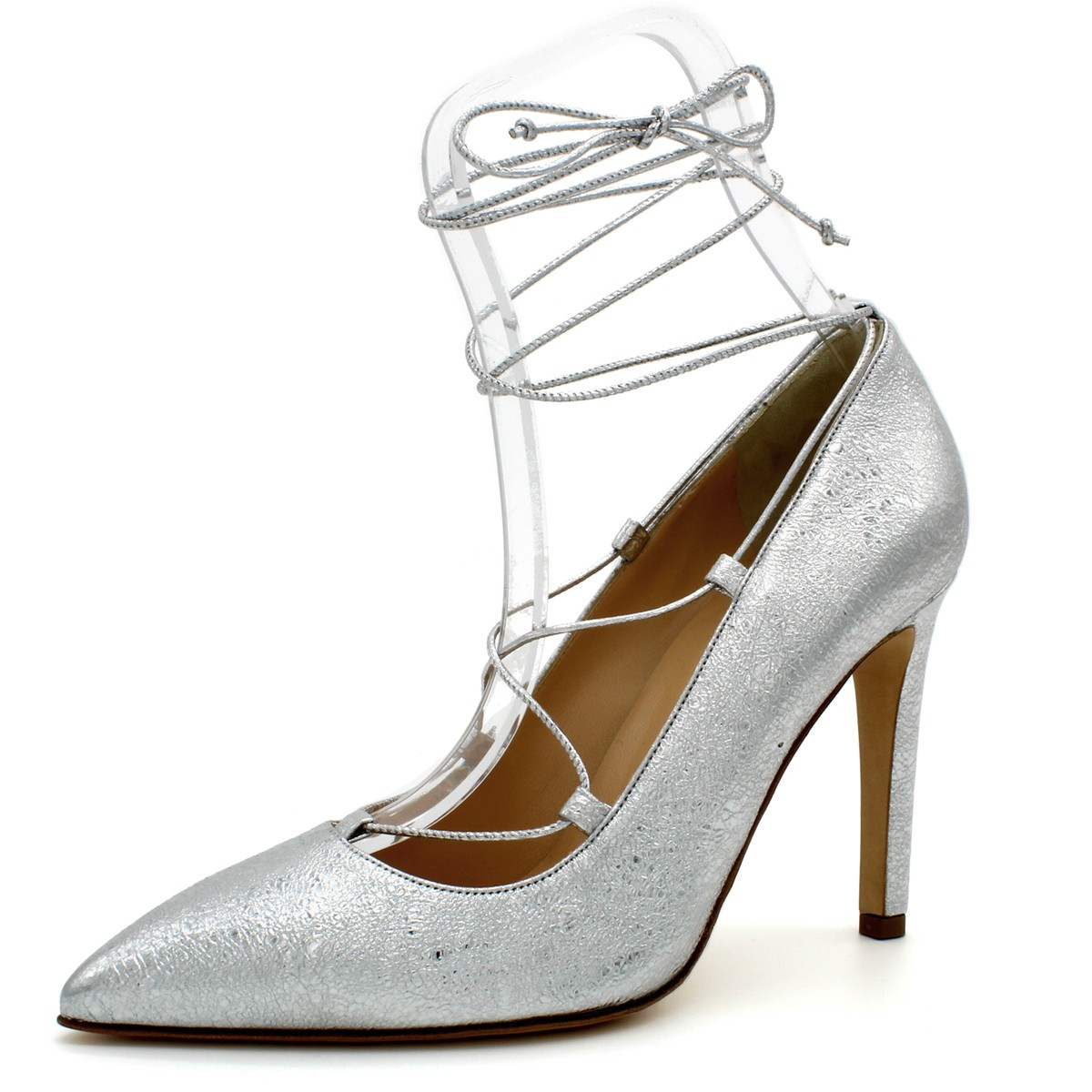 SILVER LACE-UP ITALIAN PUMPS