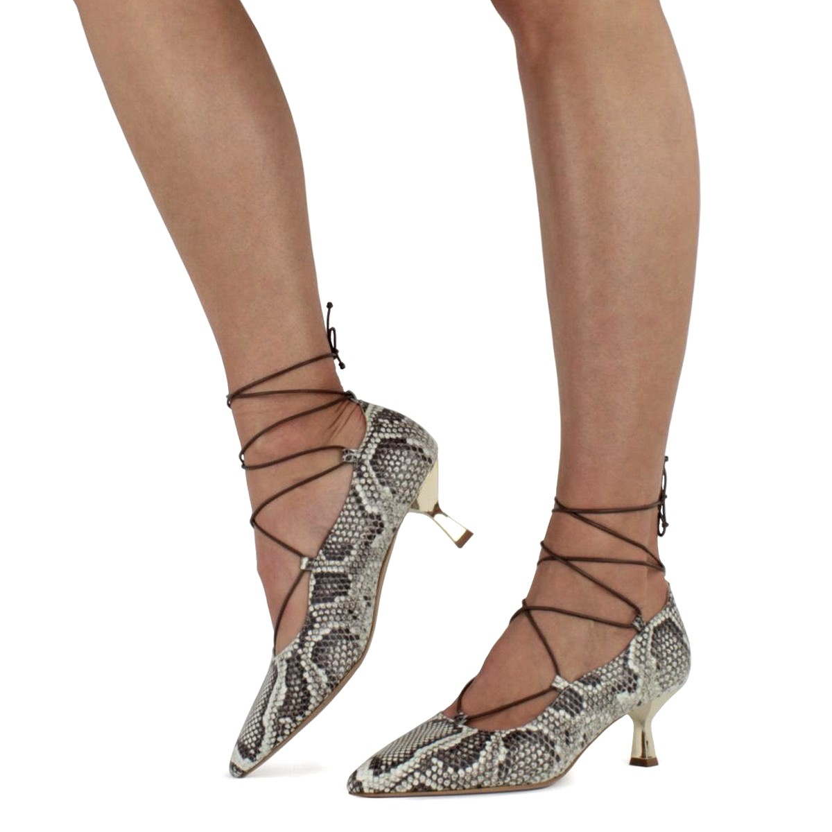 SNAKE LACE-UP ITALIAN PUMPS
