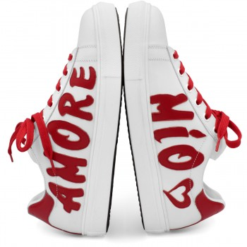 "WHITE & RED SNEAKERS ""AMORE MIO"""