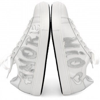 "SNEAKERS ""AMORE MIO"" BIANCO-ARGENTO"