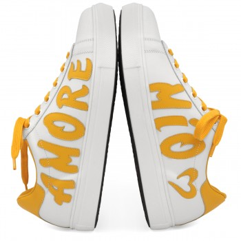 "WHITE & YELLOW SNEAKERS ""AMORE MIO"""