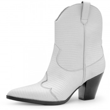 WHITE TEJUS COWBOY-STYLE ANKLE BOOTS