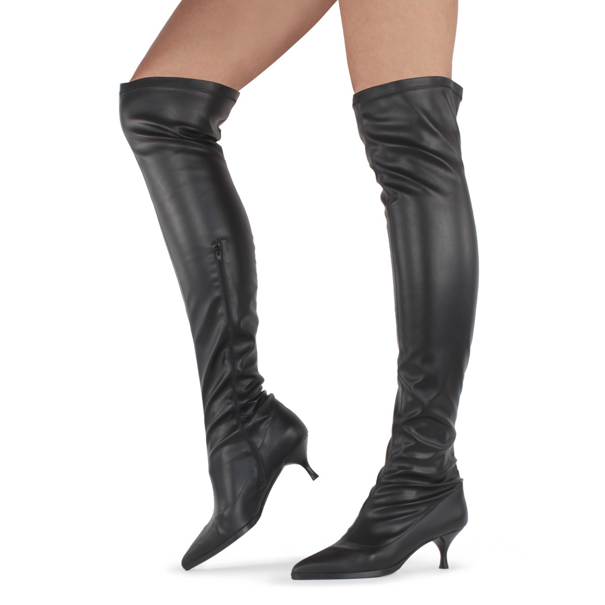 BLACK LEATHER THIGH-HIGH BOOTS
