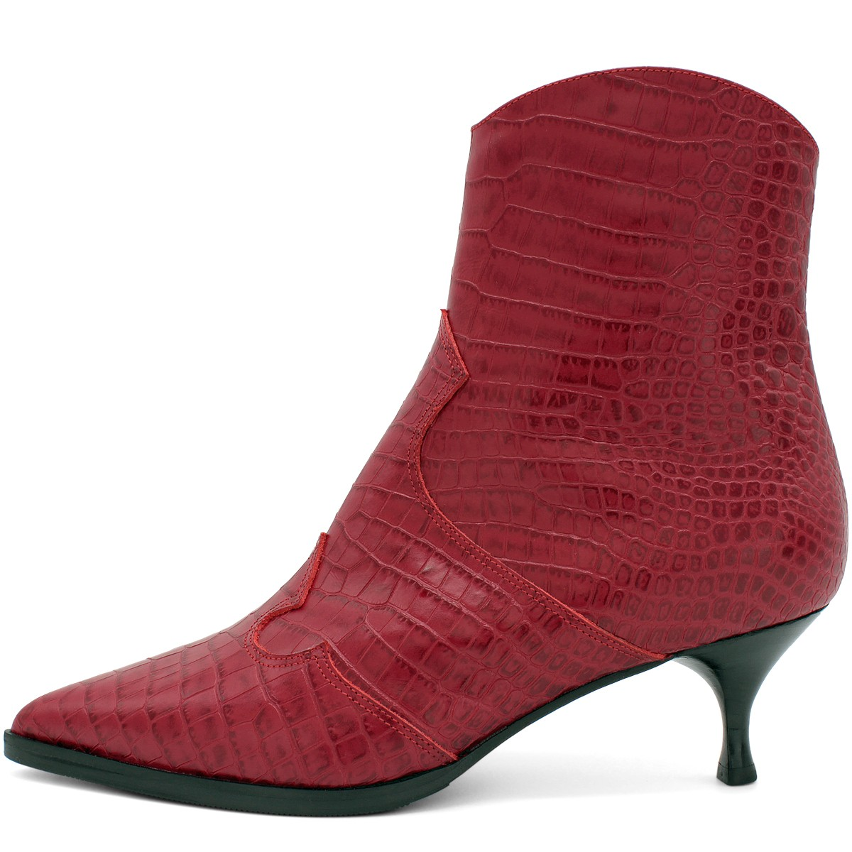 RED CROCO WESTERN ANKLE BOOTS ON SPOOL HEEL