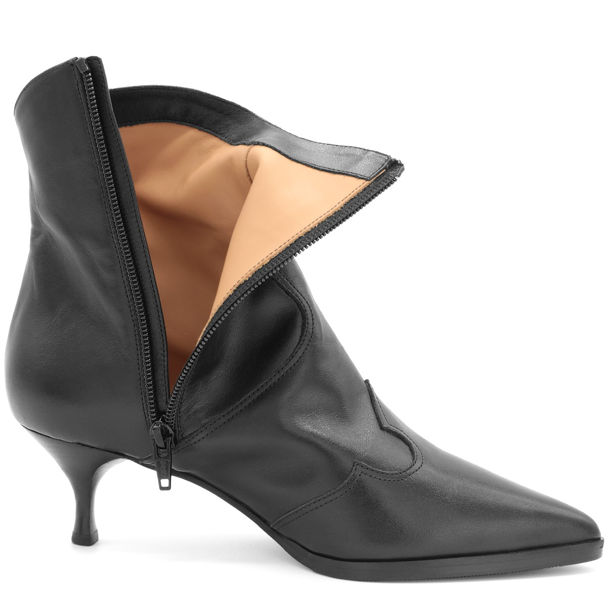 BLACK LEATHER WESTERN ANKLE BOOTS ON SPOOL HEEL