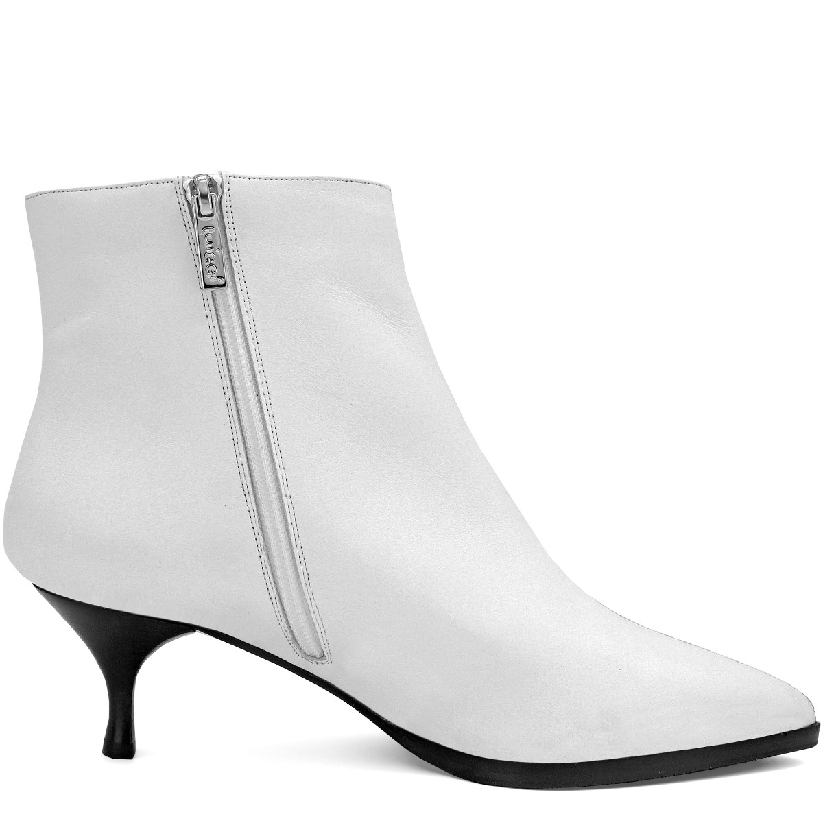 WHITE LEATHER STYLISH WOOL FUR LINED ANKLE BOOTS