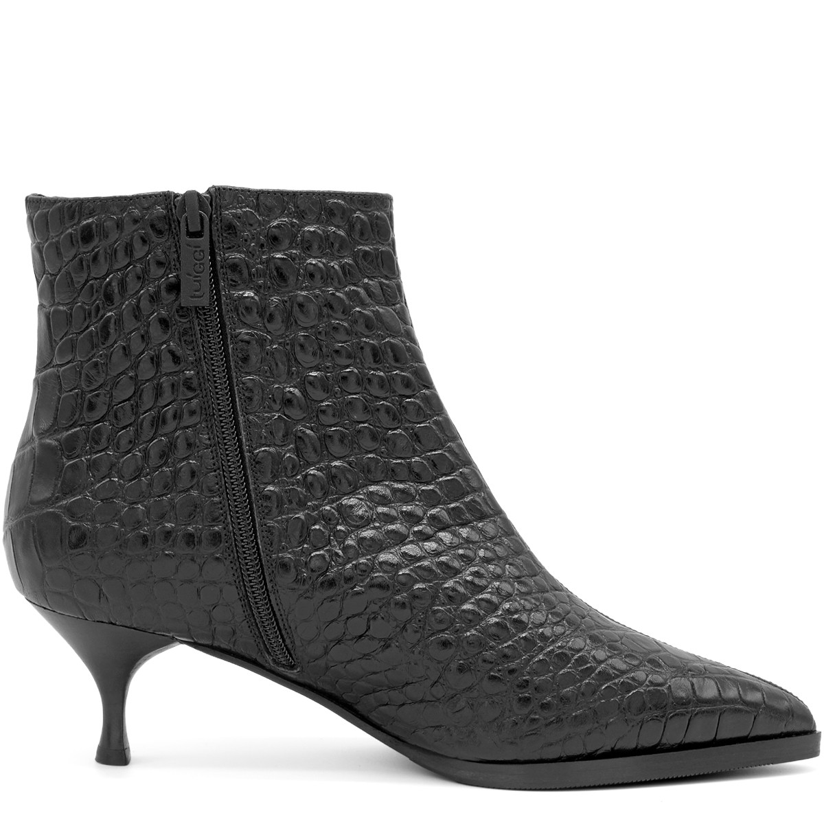 BLACK CROCO STYLISH WOOL FUR LINED ANKLE BOOTS