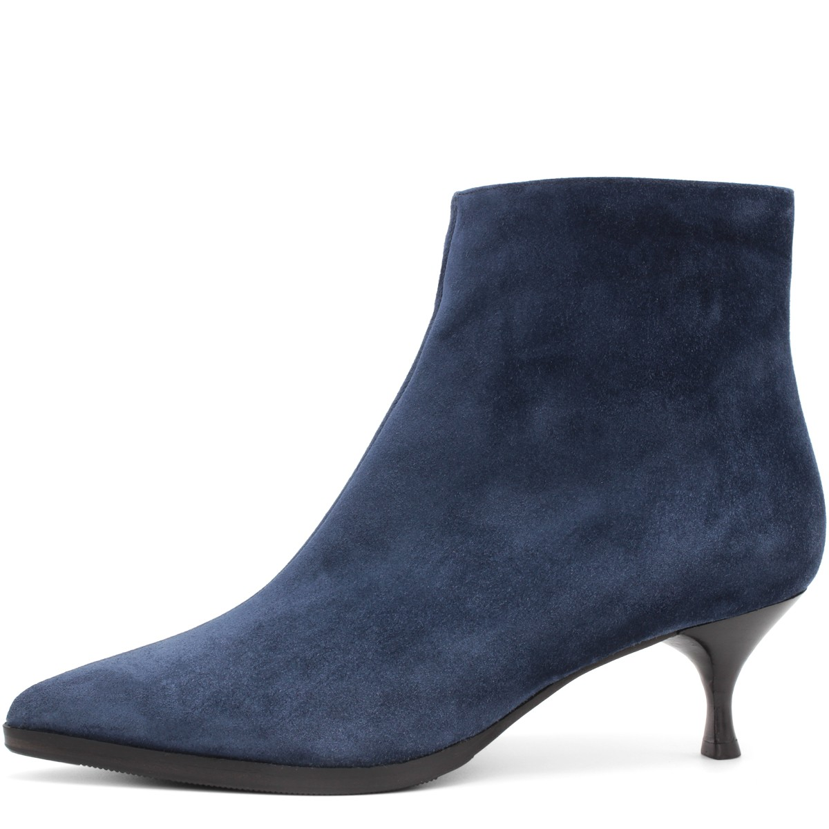 BLUE SUEDE STYLISH WOOL FUR LINED ANKLE BOOTS
