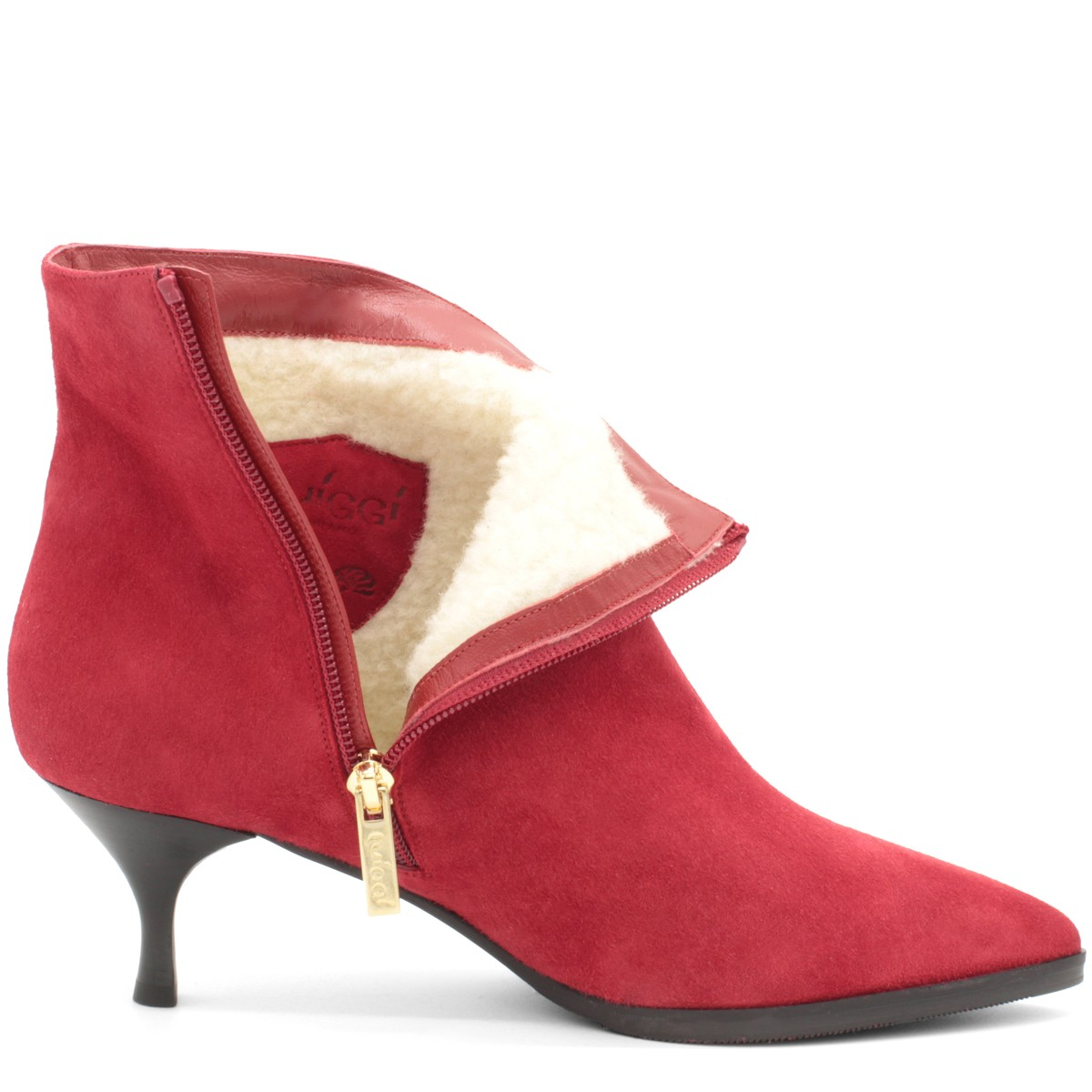 RED SUEDE STYLISH WOOL FUR LINED ANKLE BOOTS