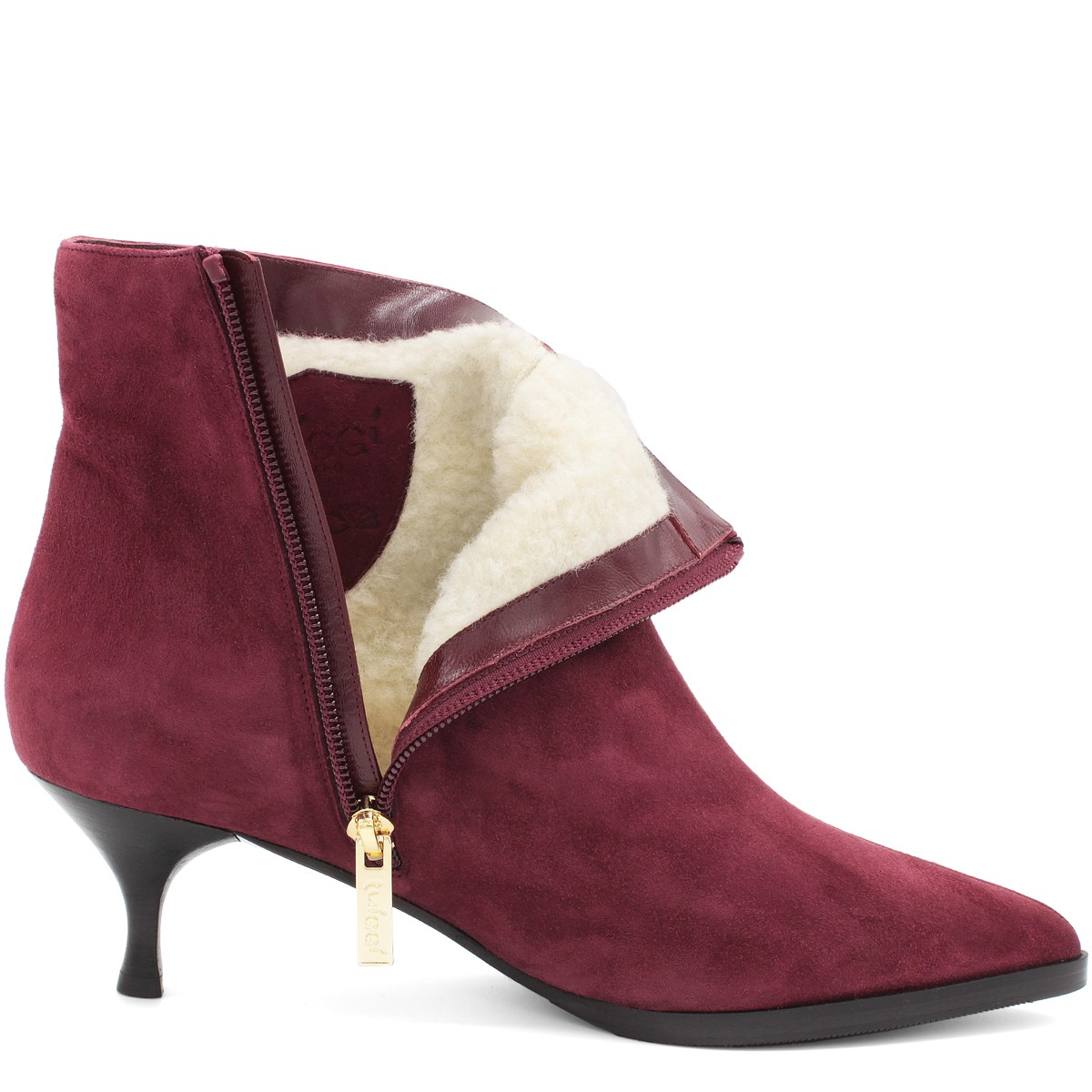 BURGUNDY SUEDE STYLISH WOOL FUR LINED ANKLE BOOTS