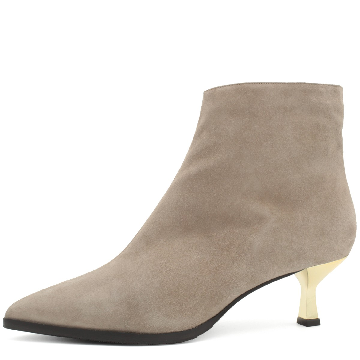 TAUPE SUEDE STYLISH WOOL FUR LINED ANKLE BOOTS
