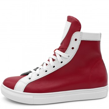 RED LEATHER HI-TOP SNEAKERS