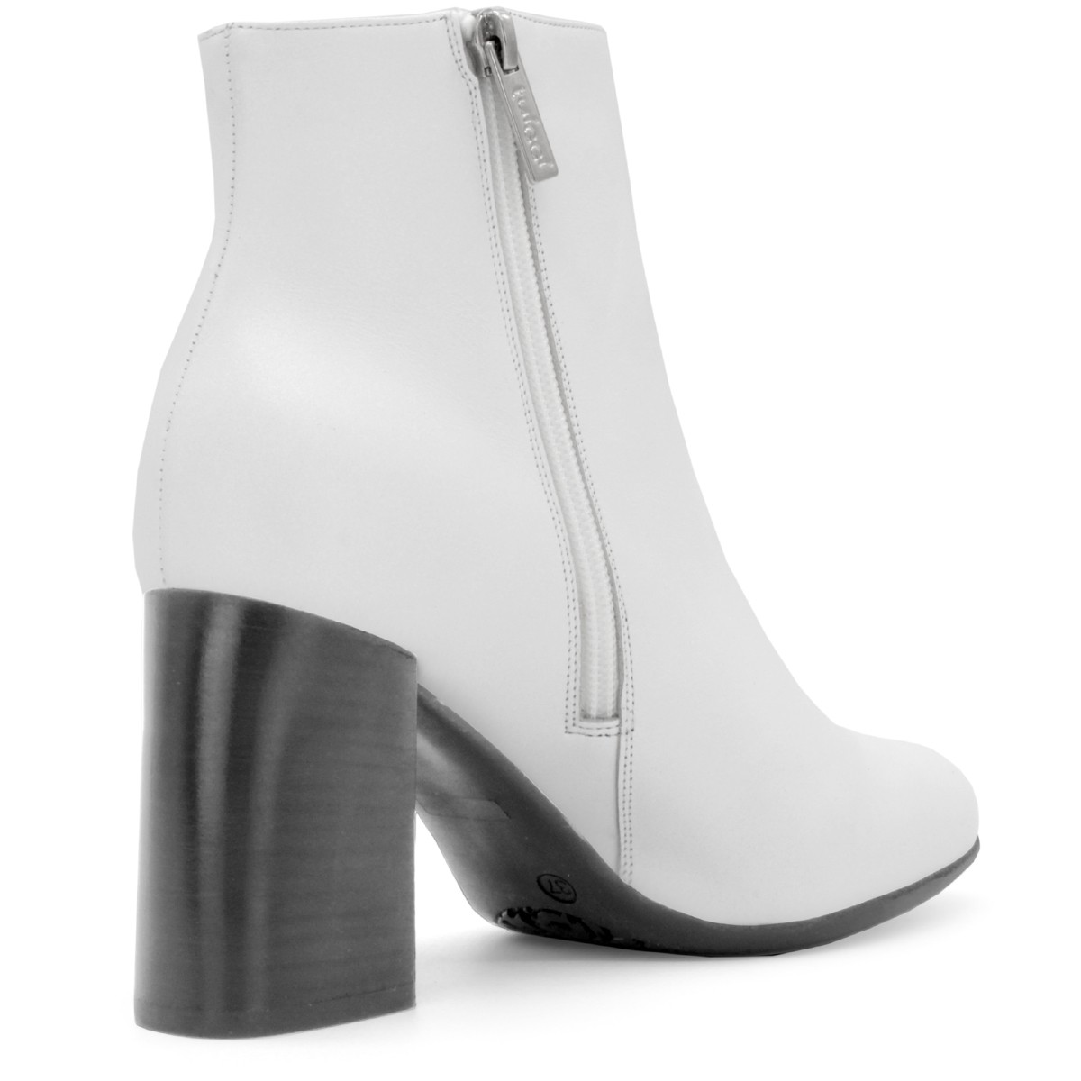 WHITE LEATHER ROUND TOE ANKLE BOOTS 90MM