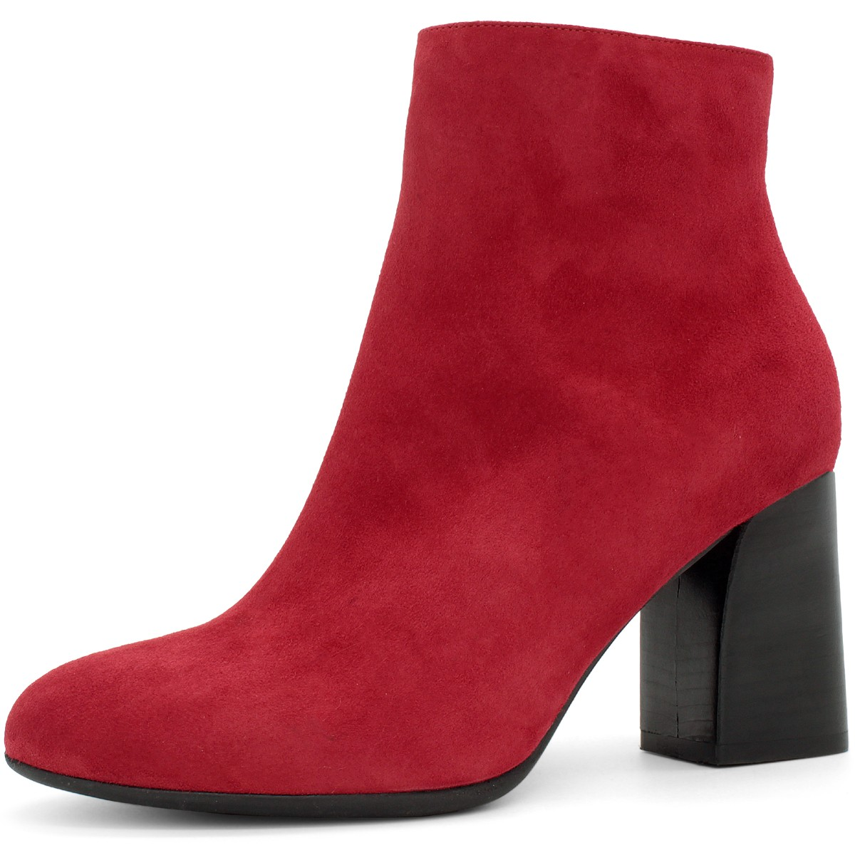 RED SUEDE ROUND TOE ANKLE BOOTS 90MM
