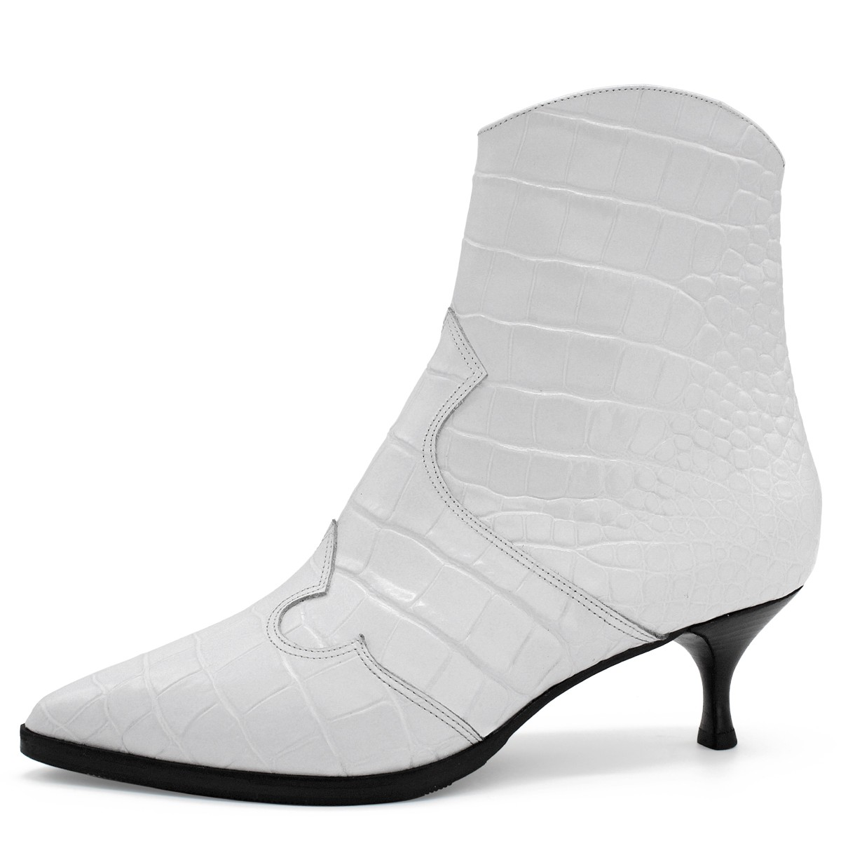 WHITE CROCO WESTERN ANKLE BOOTS ON SPOOL HEEL