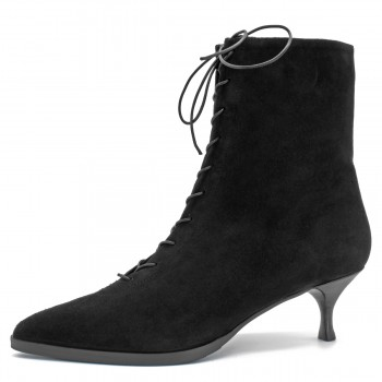 BLACK SUEDE LACE-UP ANKLE BOOTS