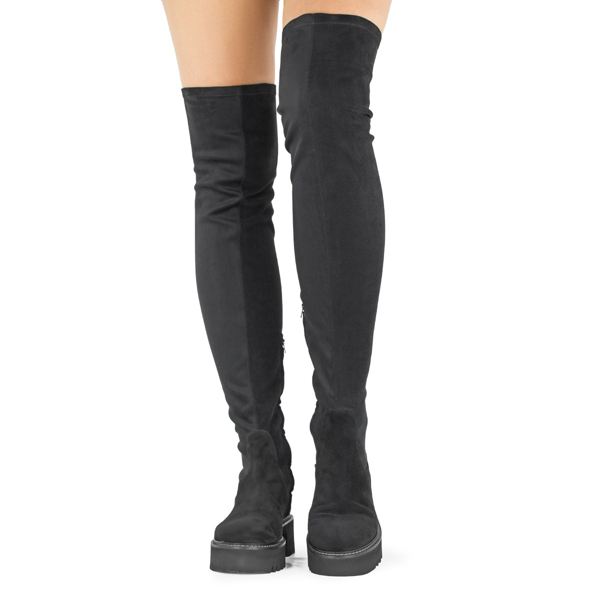 FLAT THIGH-HIGH BOOTS IN BLACK SUEDE