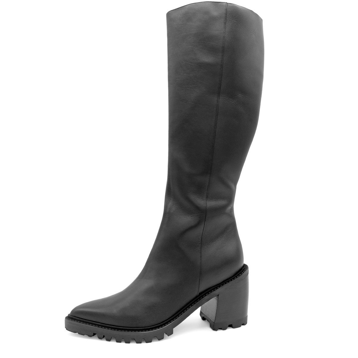 WOOL FUR LINED POINTED BLACK BOOTS ON BLOCK HEEL