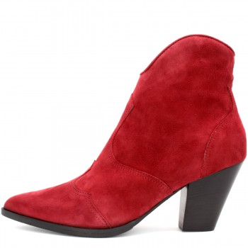 RED TEXAS SUEDE ANKLE BOOTS